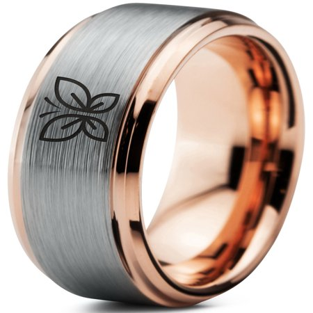 Tungsten Butterfly Flying Insect Flower Band Ring 8mm Men Women Comfort Fit 18k Rose Gold Step Bevel Edge Brushed (18k Gold Gents Ring)