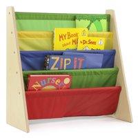 Tot Tutors Kids Book Rack with Fabric Sling Sleeves, Multiple Colors