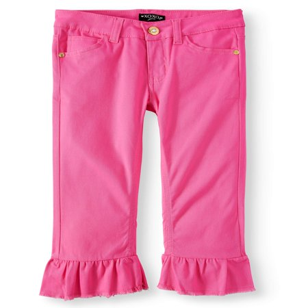 - XOXO Girls' Ruffle Hem Stretch Twill Crop Pant