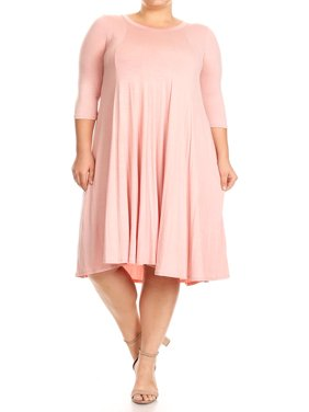 MOA Collection Plus Size Women's 3/4 Sleeves solid dress
