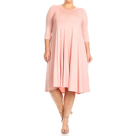 MOA Collection Plus Size Women's 3/4 Sleeves solid dress](Plus Size 20s Dress)