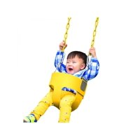 """Kids Full Bucket Swing Yellow with 58"""" Chain, Toddler Swingset Swing Seat Outdoor Kids Toys SMT"""