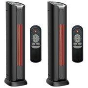 "Lifesmart 24"" 2 Element Quartz Infrared Portable Tower Heater & Fan (Pair)"