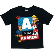 Personalized PAW Patrol Marshall, Chase and Rubble Initial Boys' T-Shirt, Black