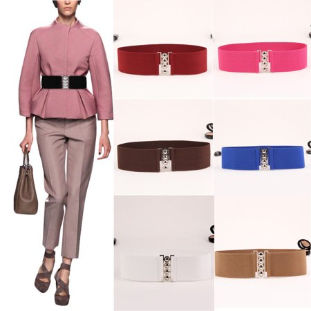 Women's Fashion Elastic Cinch Belts 3Inch Wide Stretch Waist Band Clasp (Female Elastic Rib Belt)