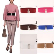 0bc2579015 Women s Fashion Elastic Cinch Belts 10Inch Wide Stretch Waist Band Clasp  Buckle