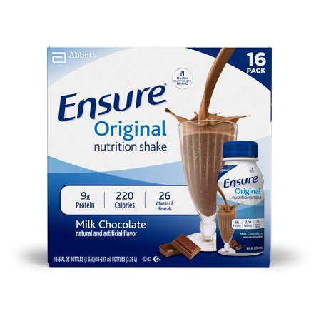 Protein Shake Nutrition (Ensure Original Nutrition Shake with 9 grams of protein, Meal Replacement Shakes, Milk Chocolate, 8 fl oz, 16 Count )
