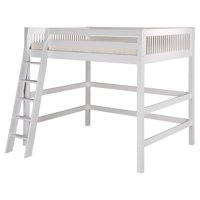 Camaflexi Full Size High Loft Bed - Mission Headboard - White Finish