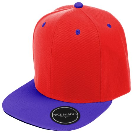 Plain Adjustable Snapback Hats Caps (Many Colors) Red | Blue One -