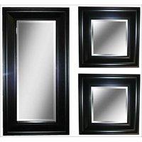 "3-Piece Black Accent Mirror Set, (2) 8"" x 8"" Mirrors and (1) 8"" x 20"" Mirror, Black Finish"