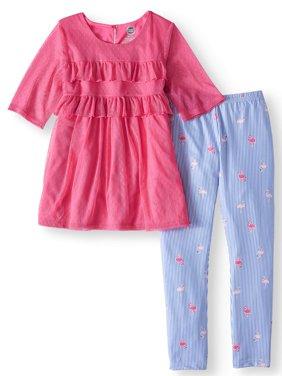Ruffled Mesh Overlay Tunic and Legging, 2-Piece Outfit Set (Little Girls, Big Girls & Big Girls Plus)