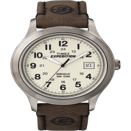 Mens Expedition Metal Field Watch, Brown Leather Strap