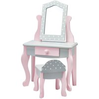 "Olivia's Little World 18"" Doll Furniture Vanity Table and Chair Set, Gray Polka Dots"