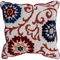 Better Homes and Gardens Floral Medallion Decorative Throw Pillow, Red and Blue