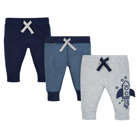 Gerber Organic Cotton Rib Active Pants, 3pk (Baby Boys)