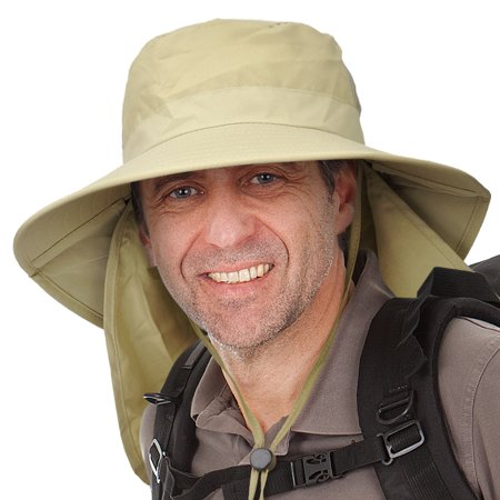 Men's Sun Protection Hat with Neck Flap Cover,Wide Brim Outdoor Fishing Hiking Camping Hunting Boating Safari Gardening Working Hat](Jhats Safari)