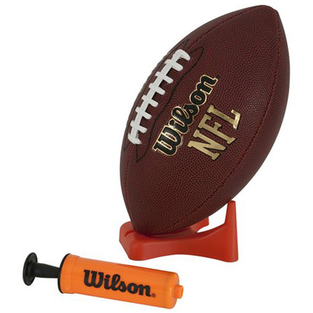 Wilson NFL Composite Leather Junior Football with Pump and (Nfl Football Photo)