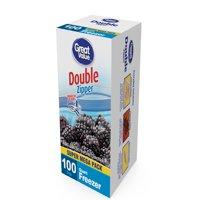 (2 pack) Great Value Double Zipper Freezer Bags, Quart, 100 Count