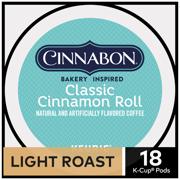 Cinnabon Classic Cinnamon Roll, Flavored Coffee Keurig K-Cup Pod, Light Roast, 18 Ct