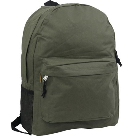 Backpack 18 inch Padded Back School Day Pack Classic Book Bag Mesh Pocket Olive