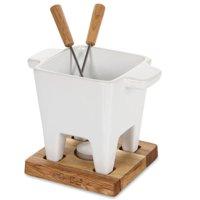 Boska Holland 6.75 oz White/Oak Ceramic Tea Light Tapas Fondue Set