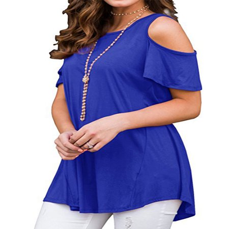 JustVH Women's Cold Shoulder Short Sleeve Casual Tunic Tops Loose Blouse Shirts