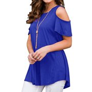40bdbc02d98f JustVH Women's Cold Shoulder Short Sleeve Casual Tunic Tops Loose Blouse  Shirts