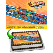 Hot Wheels Cake Image Personalized Topper Edible Birthday 1 4 Sheet