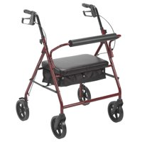 """Drive Medical Bariatric Rollator Rolling Walker with 8"""" Wheels, Red"""
