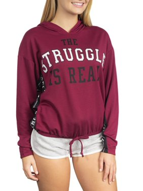 Juniors' Generic Struggle Graphic Colorblock Drawstring Waist Hoodie