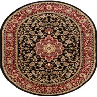 """Well Woven Barclay Medallion Kashan Traditional Persian Black 6'7"""" x 9'6"""" Oval Area Rug"""