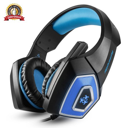 [Newest 2019 Upgraded] Gaming Headset Best for Xbox One, PS4, PC - 7.1 Best Surround Stereo Sound, Noise Cancelling Mic, 3.5mm Soft Breathing Over-Ear Game Headphones (Blue Noise Canceling Ear Buds)