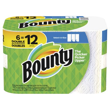 bounty select-a-size paper towels, white, 6 double rolls = 12