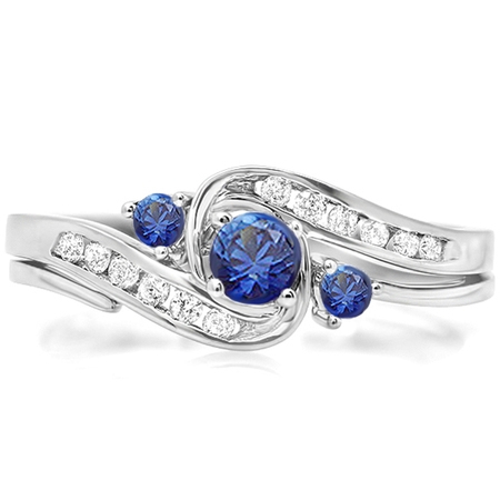 Dazzlingrock Collection 18K Round Blue Sapphire & White Diamond Ladies Swirl Bridal Engagement Ring Set, White Gold, Size 6.5