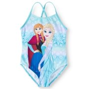 3d38683661465 Elsa and Anna One-Piece Swimsuit (Little Girls)