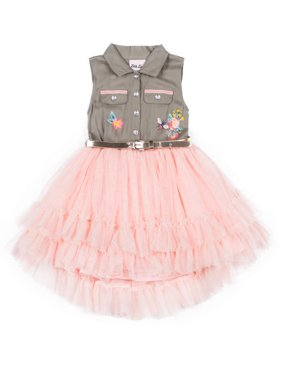 Puff Print Twill and Tulle Dress (Little Girls)