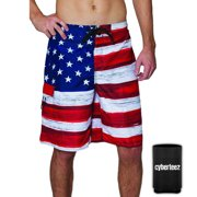 8ffe8bb768 USA American Flag Old Glory Men's RWB Patriotic Board Shorts Swim Trunks +  Coolie (S