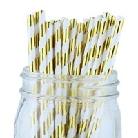 Just Artifacts 100pcs Decorative Striped Paper Straws (Striped, Metallic Gold)