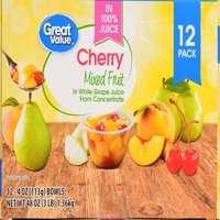 (12 Pack) Great Value Cherry Mixed Fruit in 100% Juice, 4 oz cups
