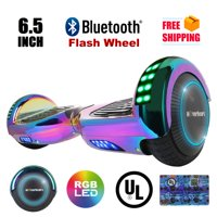 "UL2272 Certified TOP LED 6.5"" Hoverboard Two Wheel Self Balancing Scooter Chrome Rainbow L64"