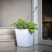 Algreen Modena 30-In. Square Taper Planter, Self-Watering, Glossy White