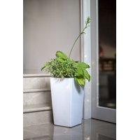 Algreen Modena 30-In. Square Taper Planter, Self-Watering, Glossy White