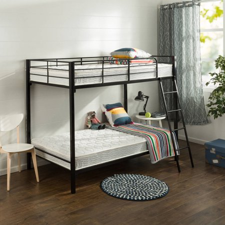 Chesterfield Upholstered Bunk Bed White Metal With Grey