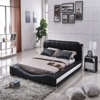 US Pride Furniture Murphy Contemporary Faux Leather Platform Bed, Black, California King