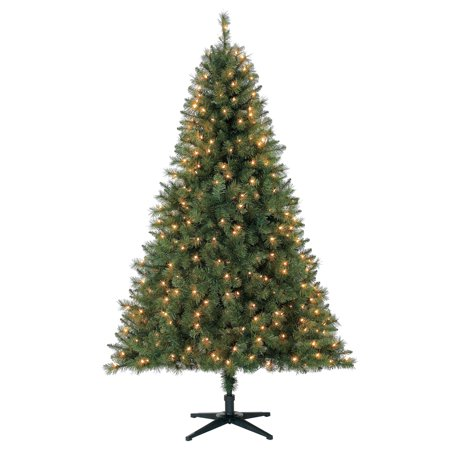 Holiday Time 6.5ft Pre-Lit Windham Pine Artificial Christmas Tree with 350  Clear Lights - Holiday Time 6.5ft Pre-Lit Windham Pine Artificial Christmas Tree