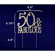 50 Fabulous 50th Birthday Cake Topper Crystal Rhinestones On Gold Metal Party