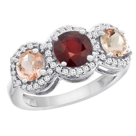 10K White Gold Enhanced Ruby & Morganite Sides Round 3-stone Ring Diamond Accents, size - Ruby Slide