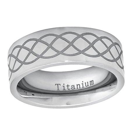 Laser Design Wedding Band - Men Women Titanium Wedding Band Ring 8mm Laser Engraved Infinity Design Ring