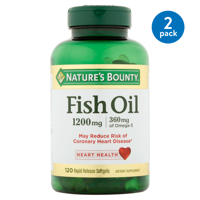 (2 pack) Nature's Bounty Fish Oil Omega-3 Softgels, 1200 mg + 360 mg Omega-3, 120 Ct
