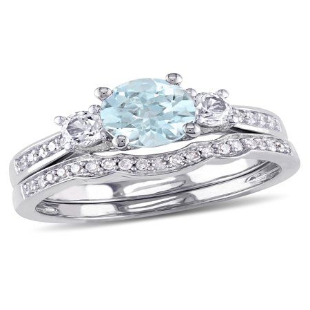 1 Carat T.G.W. Aquamarine and Created White Sapphire and 1/7 Carat T.W. Diamond 10kt White Gold Bridal Set
